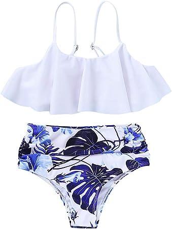 Yuanu Bañador Padre-Hijo Mujer Bebé Niñas Verano Floral Dos Piezas Bikini Set