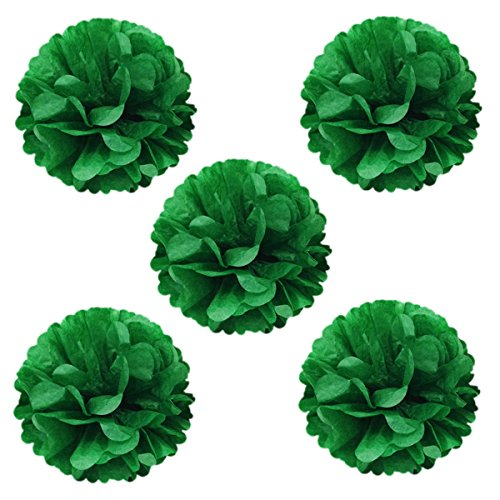Wrapables Tissue Pom Poms Party Decorations for Weddings, Birthday Parties, Baby Showers and Nursery Decor, Kelly Green, 8-Inch, Set of (Sell Wedding Decorations)