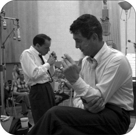 8 Inch Diameter Aluminum Sign Frank Sinatra and Dean Martin Recording Studio
