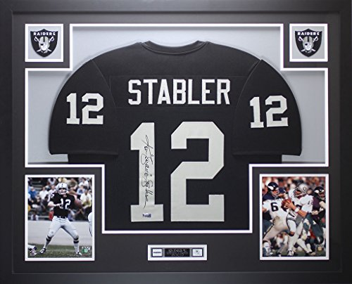Ken Stabler Autographed Black Raiders Jersey - Beautifully Matted and Framed - Hand Signed By Ken Stabler and Certified Authentic by Radtke COA - Includes Certificate of Authenticity
