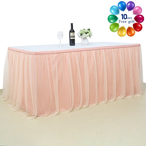 Cake Cool (B-COOL Tulle Tutu Table Skirt 3 yards Queen Wonderland Table Cloth Skirting For Baby Shower Wedding Party Cake Table Girl Princess Decoration Rose Gold(L9(ft) H 30in))