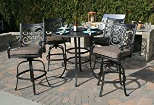 The Herve Collection 4-Person All Welded Cast Aluminum Patio Furniture Bar Height Set
