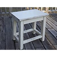 Distressed white wood side table - small end table