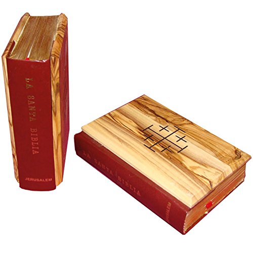Holy Biblia Spanish Bible Book with Olive Wood Cover from Bethlehem (OW-BIB-002)