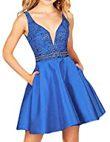 QSYE Women's a line Satin Homecoming Dresses with Beadings Short V Neck Prom Party Gowns H014