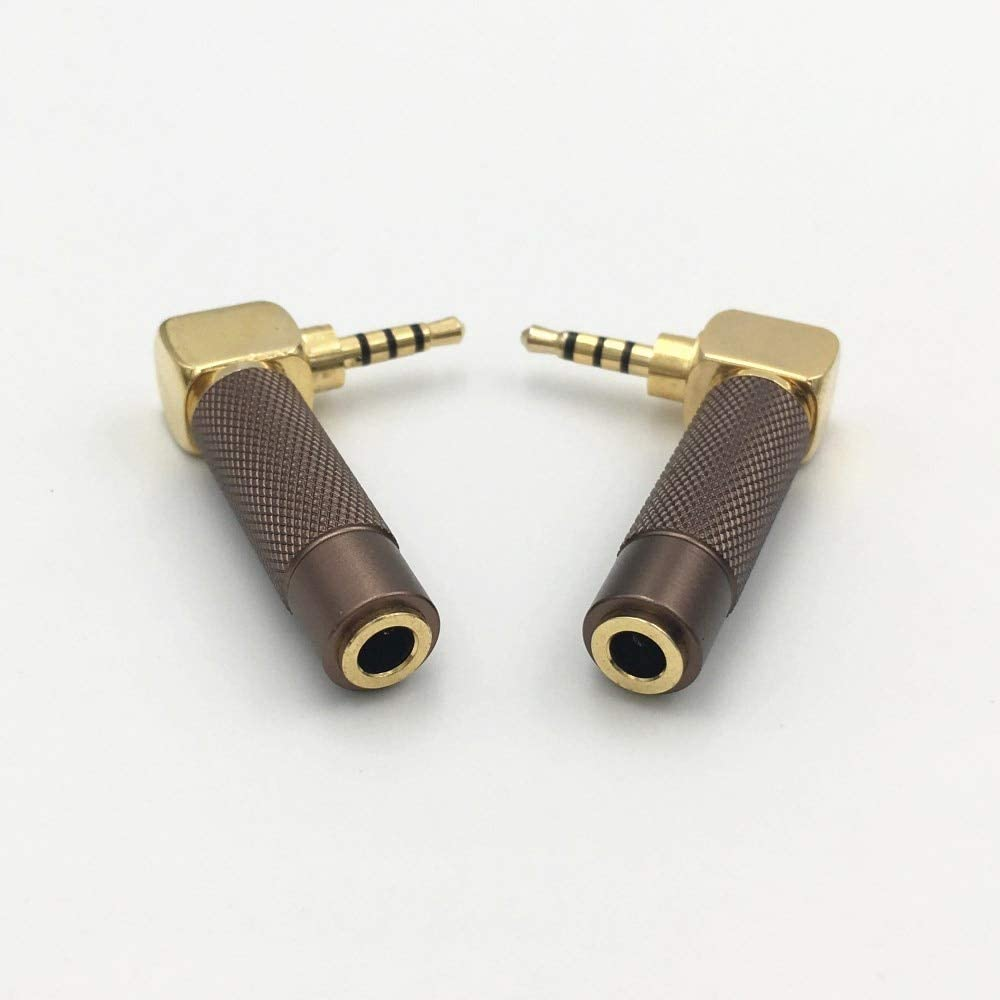 Color:Each color 5Pcs Audio Plugs Mercury/_Group 10Pcs Right Angle 2.5mm 4 Pole Male Jack to 3.5mm 4Pole Female Stereo Plug DIY Audio Speaker Headphone 2.5 to 3.5 Connector -