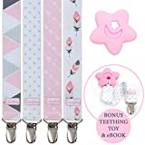 Liname Pacifier Clip for Girls with Bonus Teething Toy & eBook - 4 Pack Gift Packaging - Premium Quality & Unique Design - Pacifier Clips Fit All Pacifiers & Soothers - Perfect Baby Gift