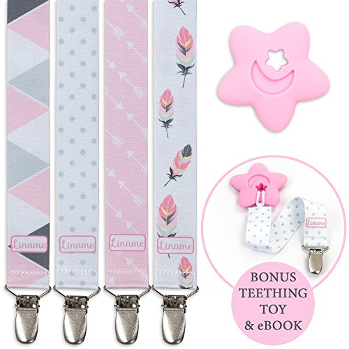 - Liname Pacifier Clip for Girls with Bonus Teething Toy & eBook - 4 Pack Gift Packaging - Premium Quality & Unique Design - Pacifier Clips Fit All Pacifiers & Soothers - Perfect Baby Gift