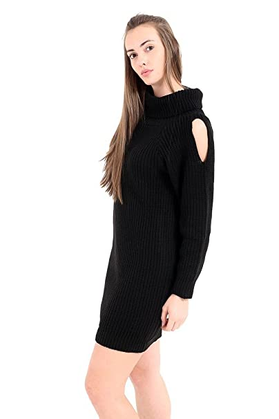 46062edca040 GirlzWalk Women's Ladies Chunky Knitted Long Sleeve Polo Roll Neck Cut Out  Shoulder Midi Dress at Amazon Women's Clothing store: