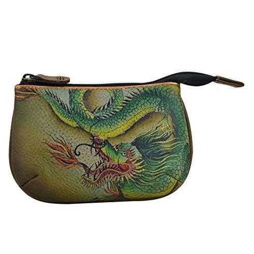 Anuschka Women's Leather Coin Purse | Genuine Soft Leather | Hand-painted Original Art | Hidden Dragon