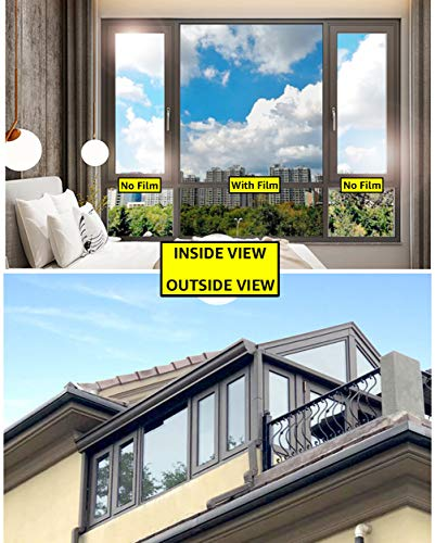 Ablave One Way Window Film Privacy Window Heat Control Film Anti-UV Static Glass Films Static Non-Adhesive Window Tint for Home and Office 23.6
