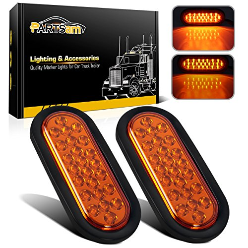 Partsam 2pcs 6 inch Oval Amber Yellow LED Sealed Stop Turn Signal Park Tail Lights Flush Mount 24 Diodes Lamps 12V Replacement for Peterbilt/Freightliner/Kenworth Truck Trailer Waterproof