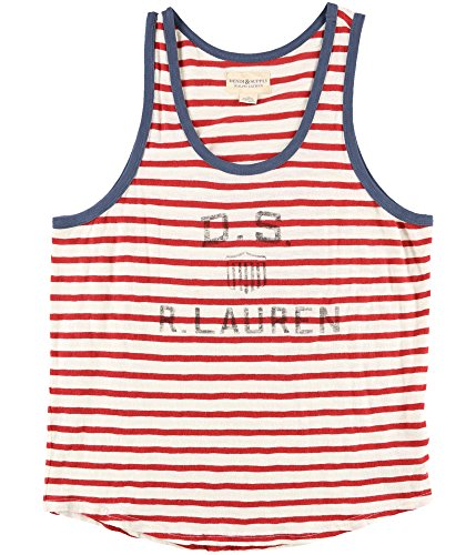Polo Ralph Lauren Denim & Supply Ralph Lauren Men's Stripe Graphic-Print Logo Cotton Tank (White, L) - Polo Cotton Tank Top