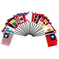 """South East Asia World Flag SET-20 Polyester 4""""x6"""" Flags, One Flag for Each Country in South East Asia, 4x6 Miniature Desk & Table Flags, Small Mini Stick Flags"""
