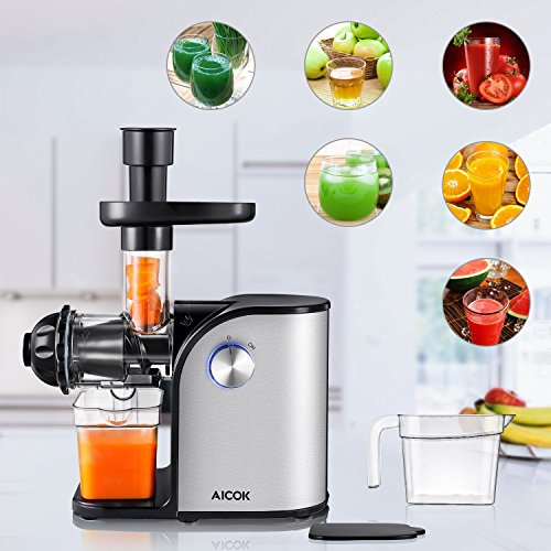 Aicok Slow Masticating juicer, Cold Press Juice Extractor, Stainless Steel, Quiet Motor, High ...