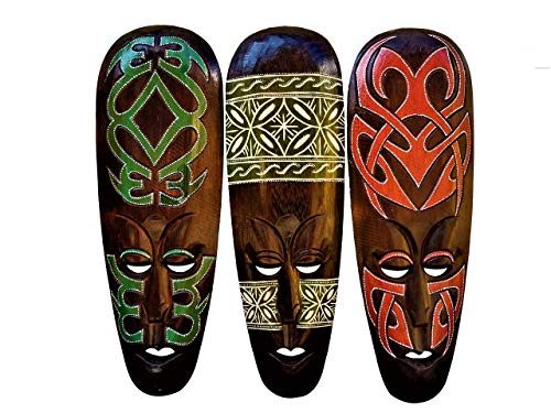 African Decor Mask Tribal Home - All Seas Imports Gorgeous Unique Hand Chiseled Set of (3) Wood African Style Wall Decor Masks with Beautiful Design!