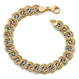 Kyпить Roy Rose Jewelry Leslie's 14K Tri-Color Gold Polished & Textured Fancy Link Bracelet ~ Length 7.75'' inches на Amazon.com