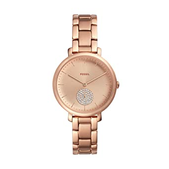 Fossil Womens Jacqueline Quartz Stainless-Steel-Plated Strap, Rose Gold, 14 Casual