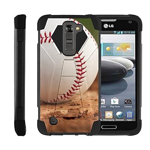 TurtleArmor   LG K8 Case   LG Escape 3 Case   LG Phoenix 2 Case [Dynamic Shell] Dual Hybrid Hard Absorber Impact Silicone Cover Kickstand Sports Video Games Design - Baseball (Lg Dynamic 2 Phone Case Camo)