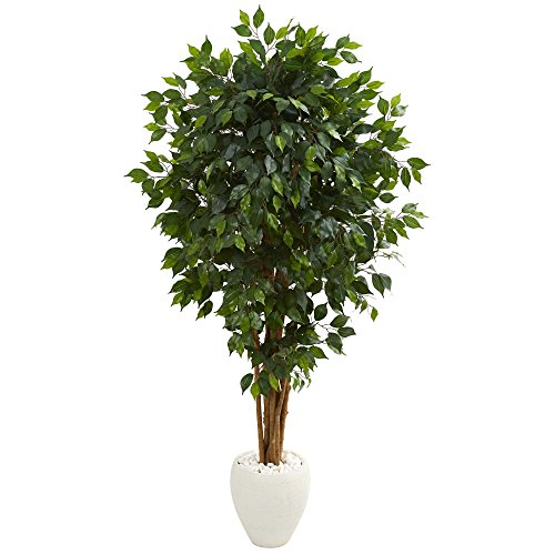 Nearly Natural 5666 6' Ficus Artificial Tree in White Planter, Green