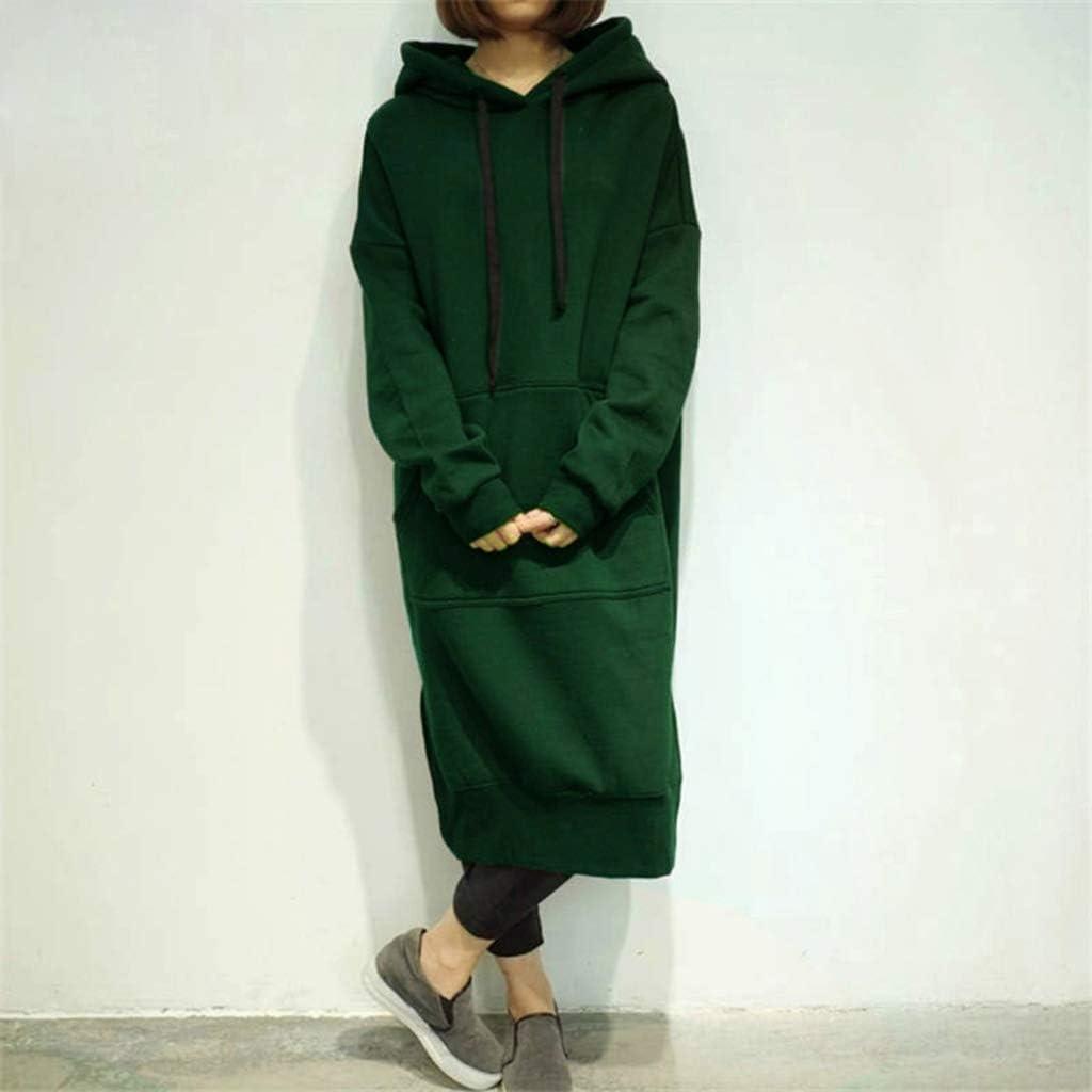 EHOO Womens Long Sleeve Sweatshirt Casual Plus Size Loose Hoodies Long Hooded Dresses with Pocket