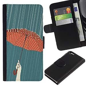 Stuss Case / Funda Carcasa PU de Cuero - Paraguas del lunar Red Rain Pintura - Apple Iphone 6