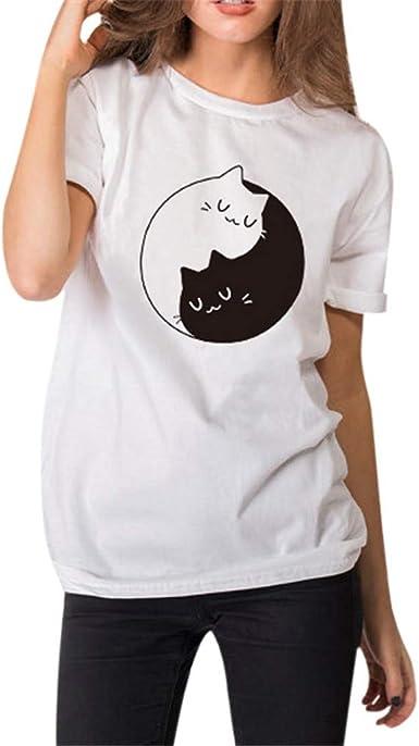 Blusa de Tirantes Estampado de Tai Chi Gato para Mujer Verano K-Youth San Valentín Pareja Hombre Tops Mujer Ropa de Mujer Chic Moda Camisas de Manga Corta Mujer T Shirt tee: Amazon.es: