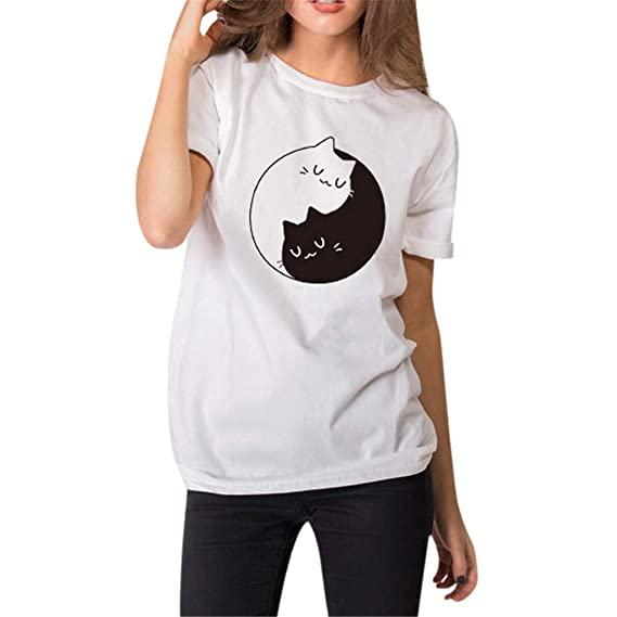 Luckycat Camisetas Corta Mujer, Gato impresión Camisa Pullover t ...