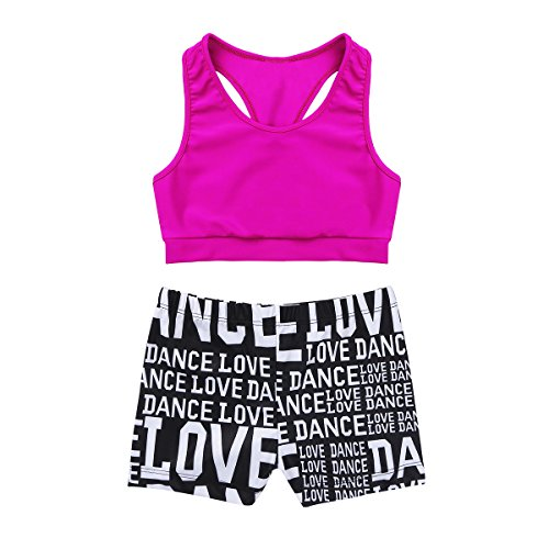 MSemis Girls' Kids 2-Piece Active Set Dance Sport Outfits Racer Back Top and Booty Short Gymnastics Dancing Clothes Rose 8-10