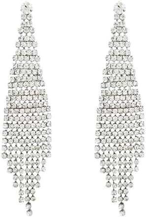 SELOVO Wedding Bridal Bohemia Women Long Dangly Earrings Chandelier Clear Crystal Tassel Link Fringe