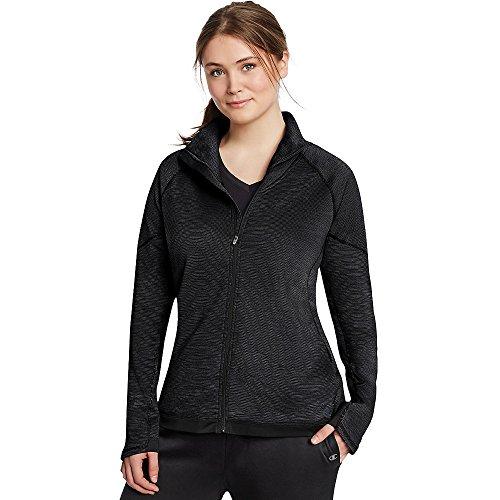 Champion Women's Plus Tech Fleece Full Zip Jacket_Black Space Dye/Black_1X