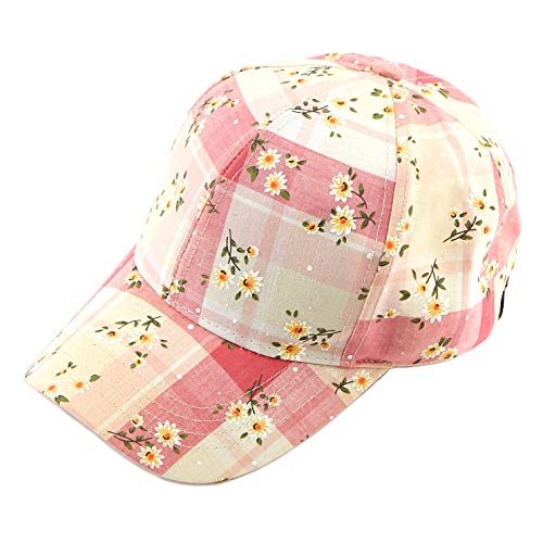 C.C Hatsandscarf Exclusives Oriental Flower Pattern Baseball Cap (BA-751) (Daisy-Pink.)