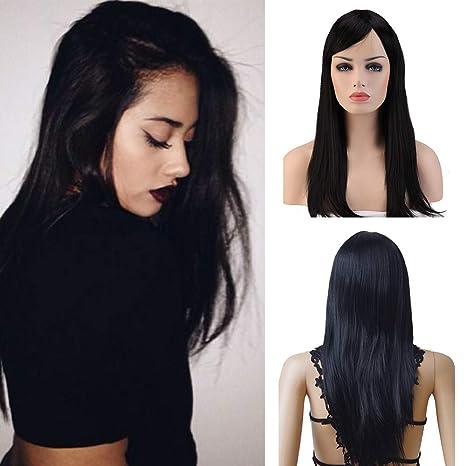 Pelucas Negra Mujer Largas Lisas con Flequillo Pelo Se Ve Natural Peluca Sintética para Cosplay Disfraces