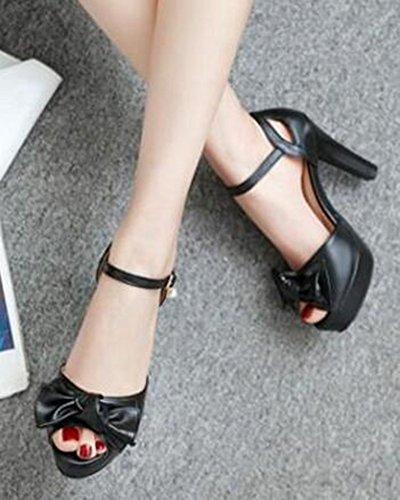 Easemax Womens Trendy Bowknot Buckled Peep Toe Dress Chunky High Heels Ankle Strap Sandals Black 1pfmEh18cd