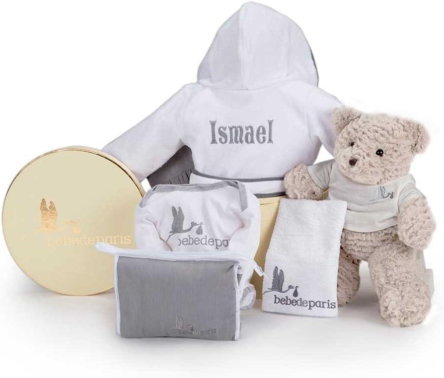 Canastilla regalo bebé Mi Albornoz Bordado- BebeDeParis- Gris- Cesta para bebés con Albornoz personalizado con el nombre del bebé- regalo de nacimiento ideal