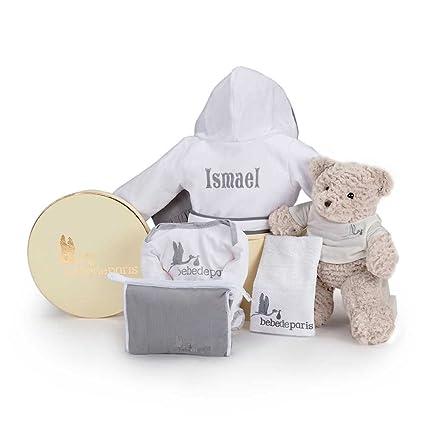 Canastilla regalo bebé Mi Albornoz Bordado- BebeDeParis- Gris- Cesta para bebés con Albornoz