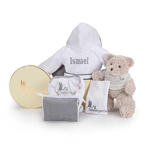 Canastilla regalo bebé Mi Albornoz Bordado- BebeDeParis- Gris- Cesta para bebés con Albornoz personalizado con el nombre del bebé- regalo de ...