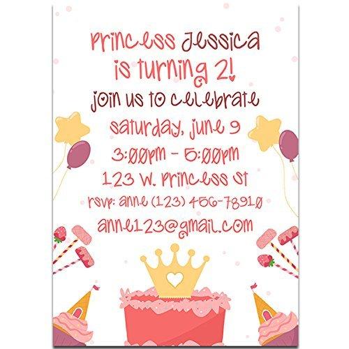 Pink Princess Birthday Party Invitations