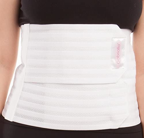 """GABRIALLA Women's Breathable Abdominal/Back Support Binder AB-309: White , Small Up to 34"""" 5"""