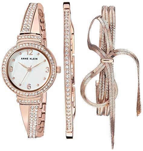 Anne Klein Women's AK/3256RGST Swarovski Crystal Accented Rose Gold-Tone Bangle Watch and Bracelet Set