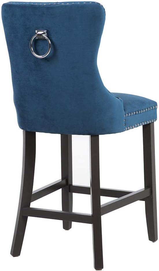 PS Global Adrianna Barstools Set of 2 Mink Comfortable And Stylish Fabric Chrome Knockerback Luxurious Plush Velvet Upholstery
