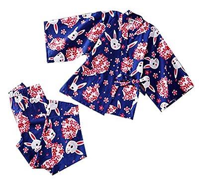 Cotton Rabbit Pattern Kimono Pajamas Bathrobe Women's Kimono Pajamas Tracksuit