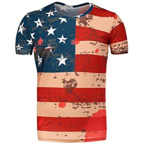 HongXander Men's Summer American Flag Printed T-shirt (M, (Bbq Decorating Ideas)