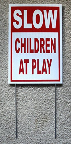 1Pc Exceptional Popular Slow Children at Play Yard Sign 1-Side Board Plastic Printed Security Lawn Size 8