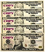 Amazon com: GoodOffer Prop Play Money 10 Dollar Bills Toy