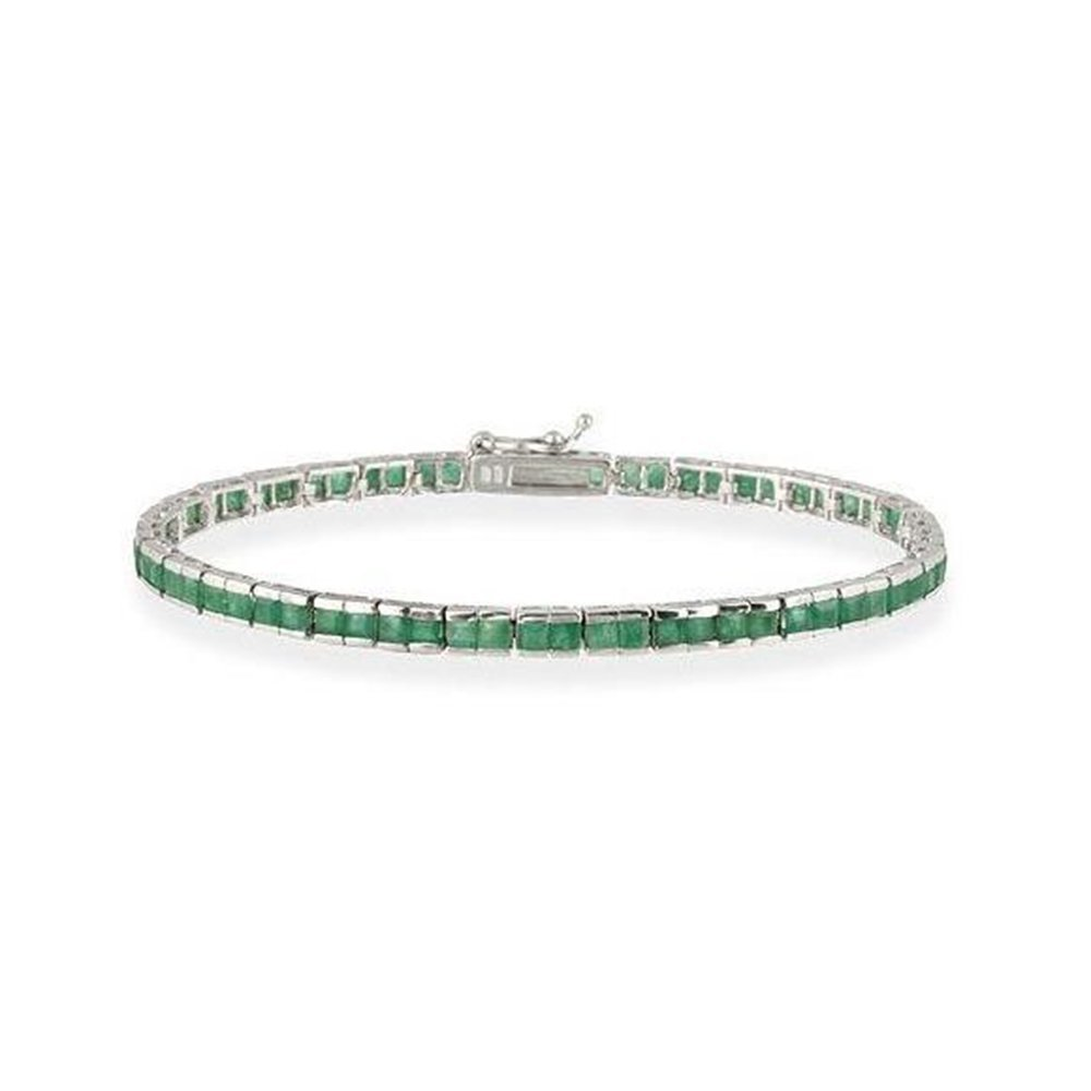 Sterling Silver 5.28 Carat Genuine Emerald Tennis Bracelet