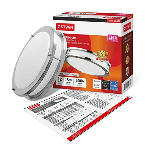 OSTWIN 12-inch Small size LED Ceiling Light Fixture Flush Mount, Dimmable, Round 15 Watt (75W Repl) 5000K Daylight, 1050 Lm, Nickel Finish with Acrylic shade (4 Pack) UL and ENERGY STAR listed by OSTWIN (Image #6)