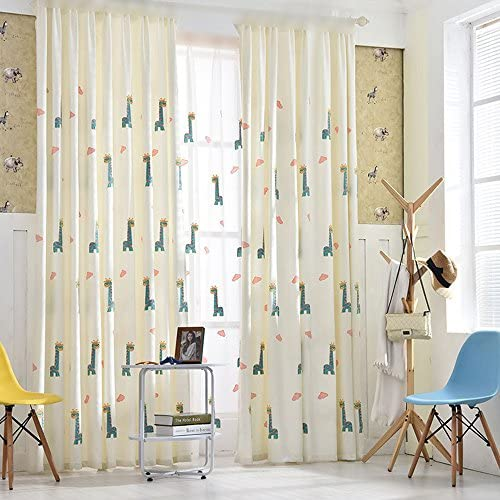 pureaqu Embroidered Cartoon Giraffe and Pink Clouds Grommet Window Curtains for Kids Room Thermal Insulated Semi Blackout Curtain Drapes Panels for Bedroom Living Room 1 Panel W75 x L96 Inch