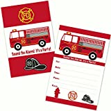Fire Truck Kids Birthday Party Invitations for Boys (20 Count with Envelopes)