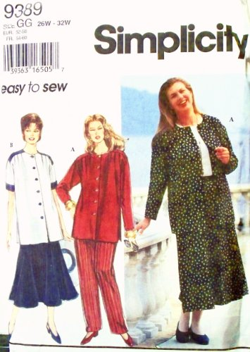OOP Simplicity Pattern 9389. Womens Plus Szs 26W;28W;30W;32W Easy-to-Sew Separates: Pull-on Pants, Flared, 6-gore Skirt, Button-front Top